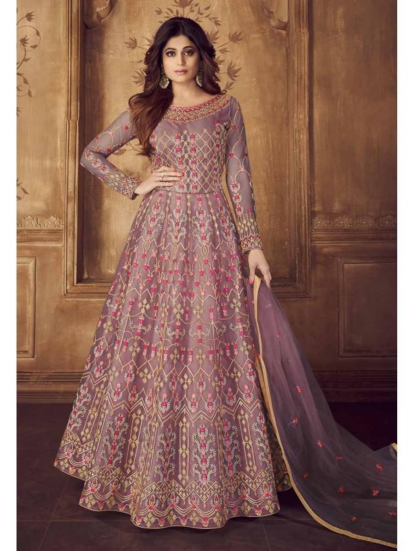 Purple Colour Bollywood Salwar Kameez.