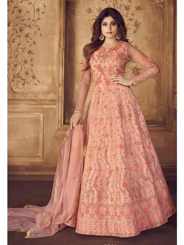 Peach Colour Embroidery Salwar Suit.