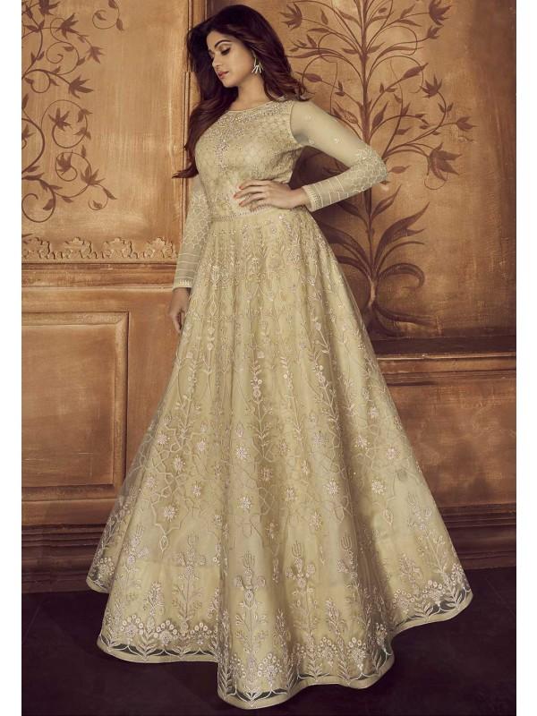 Designer Salwar Suit Beige Colour.