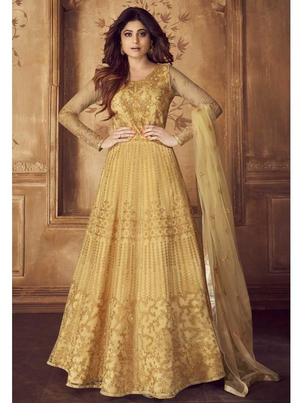 Golden Colour Net,Silk Designer Salwar Kameez.