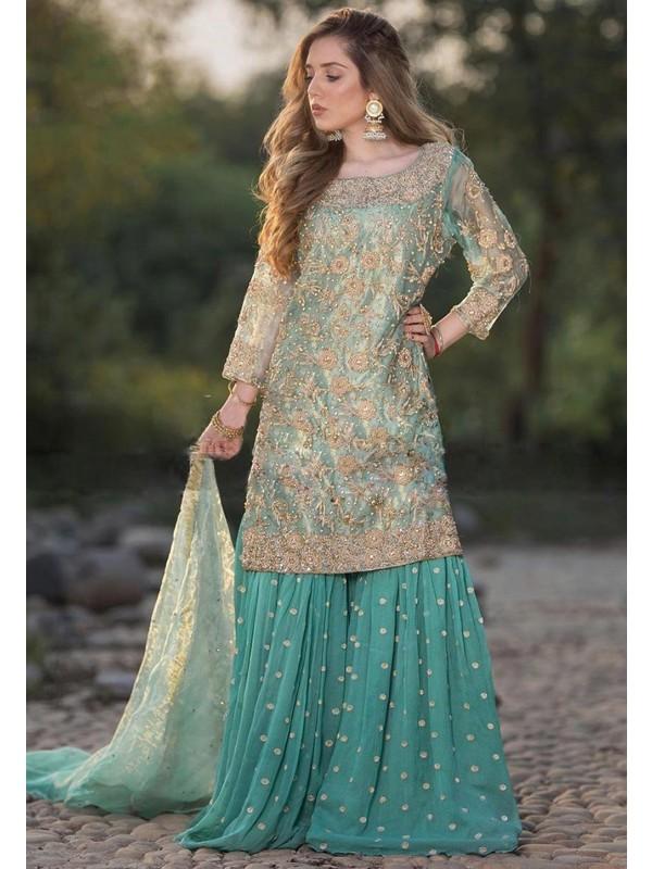 Turquoise Colour Pakistani Salwar Suit.