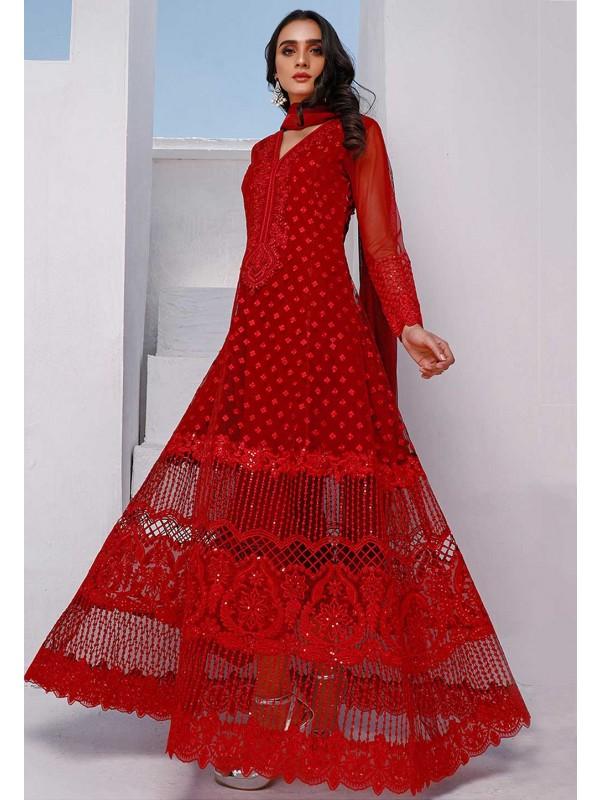 Red Colour Net Salwar Suit.