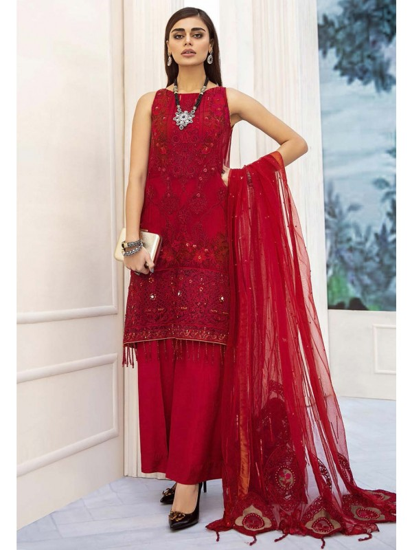 Red Colour Net Designer Salwar Kameez.