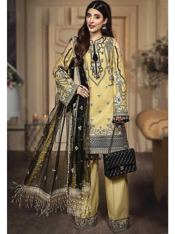 Silk,Net Salwar Kameez Yellow Colour.