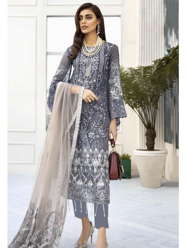 Grey,Blue Colour Net Salwar Suit.