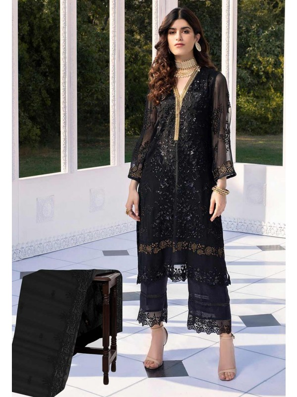 Black Colour Net Party Wear Salwar Suit.