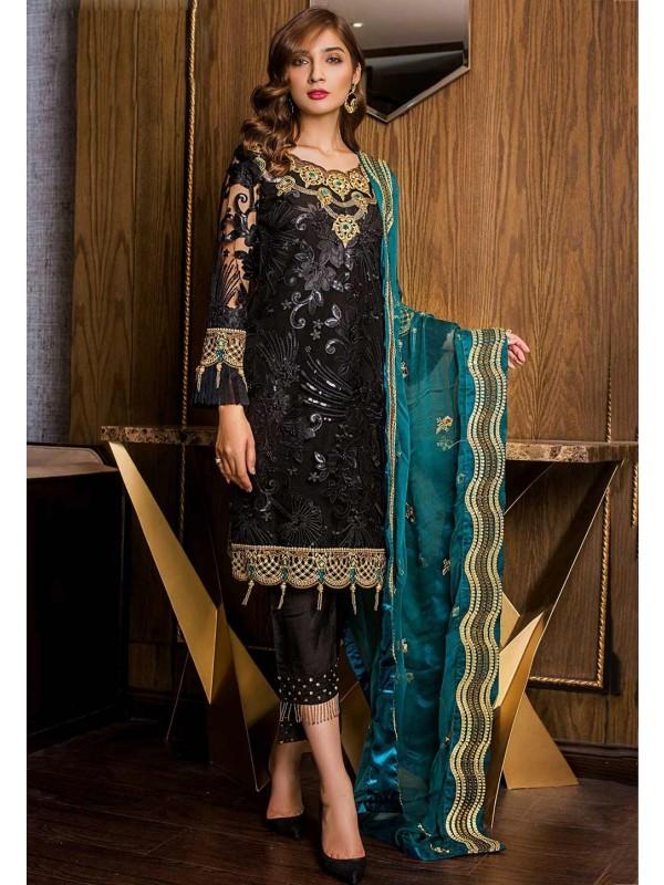 Black Colour Net Embroidery Salwar Suit.