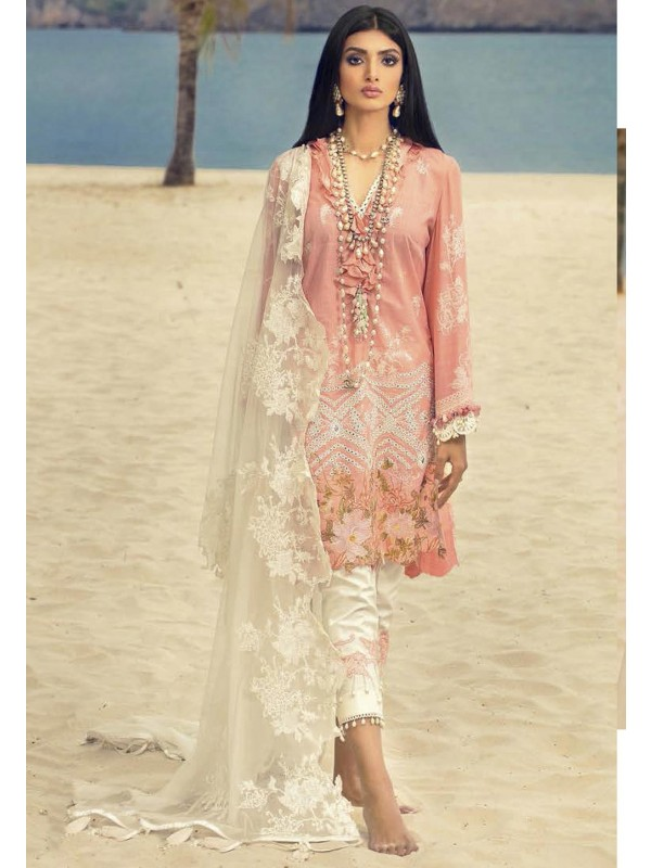 Peach Colour Net,Cotton Salwar Suit.