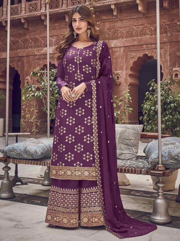 Party Wear Salwar Kameez Purple Colour in Jacquard,Chiffon Fabric.