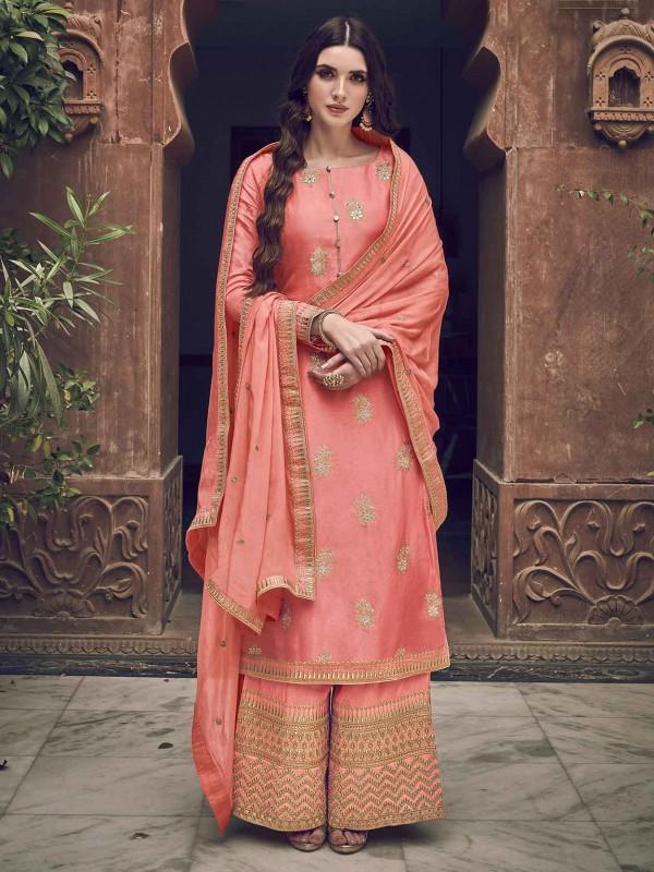 Peach Colour Indian Designer Salwar Suit.