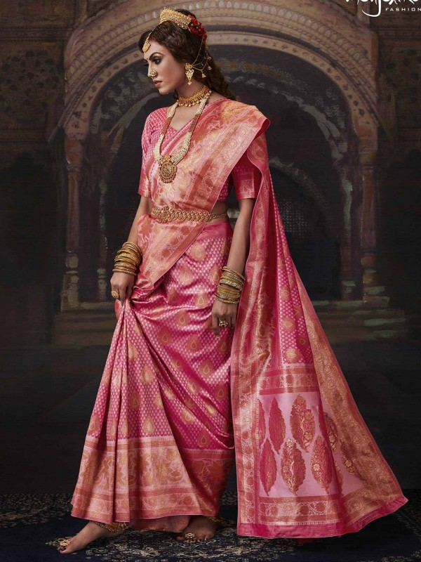 Pink Colour Banarasi Silk Designer Saree.