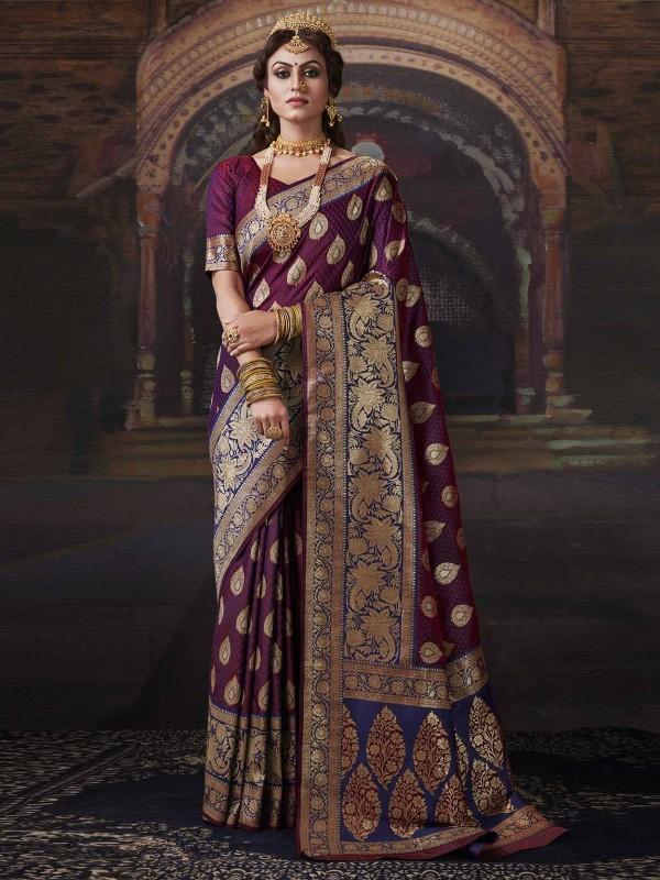 Traditional Saree Purple,Blue Colour.