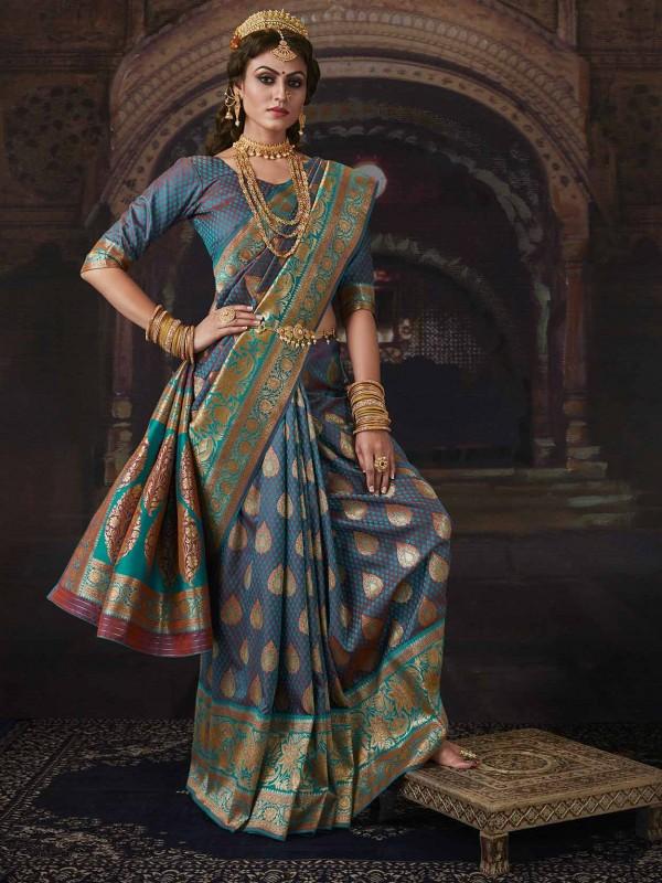 Banarasi Silk Traditional Saree in Multi Colour.