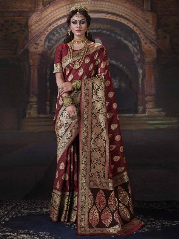 Maroon Colour Designer Saree in Banarasi Silk Saree.