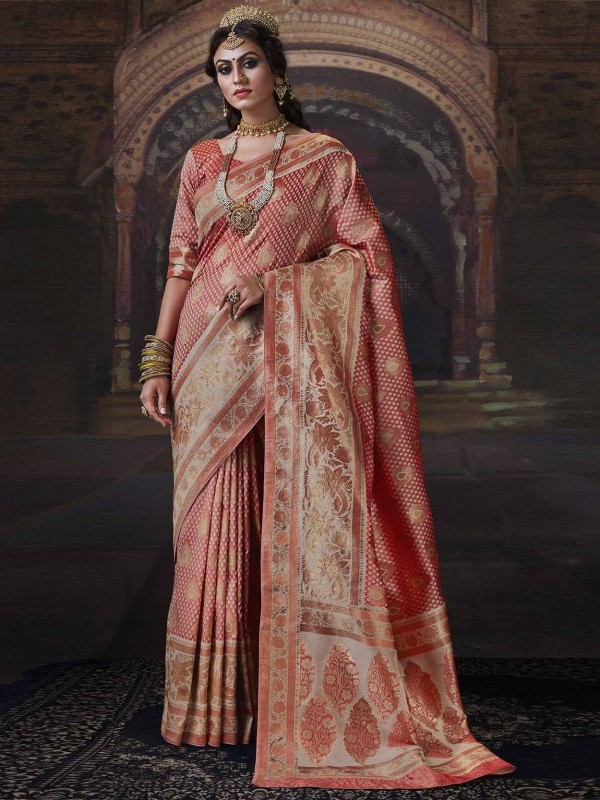 Peach Colour Banarasi Silk Designer Saree.