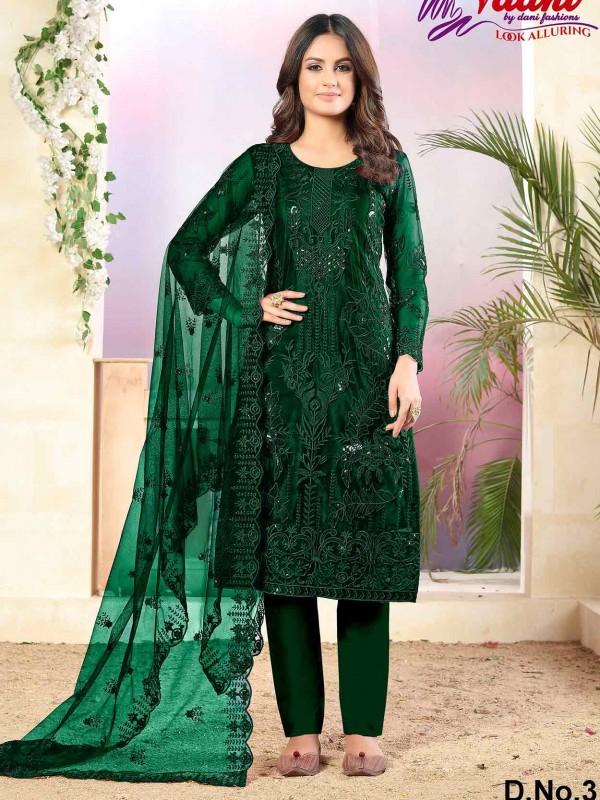 Green Colour Net,Shantoon Salwar Kameez.