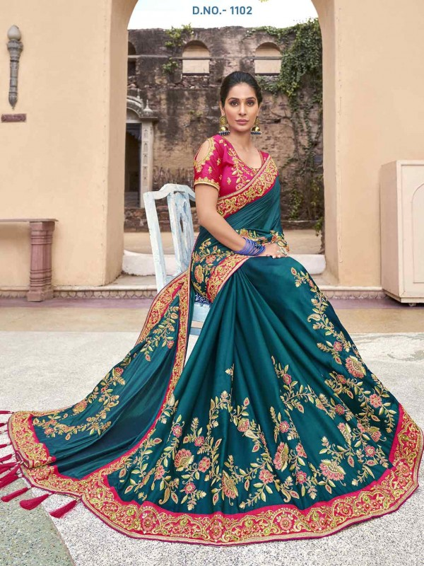 Green in Satin,Georgette Fabric Women's Saree.