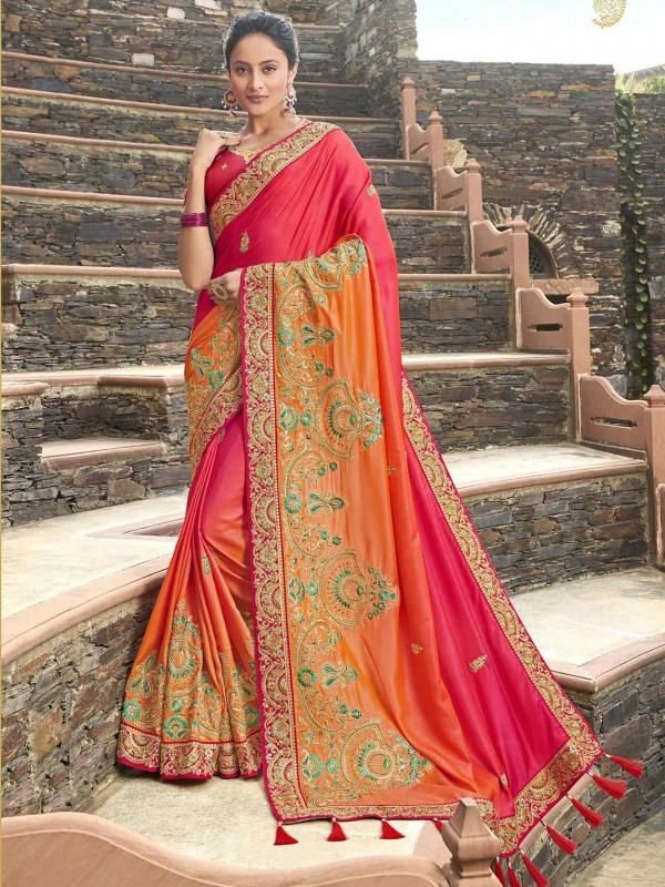 Pink,Orange Colour Indian Wedding Saree.