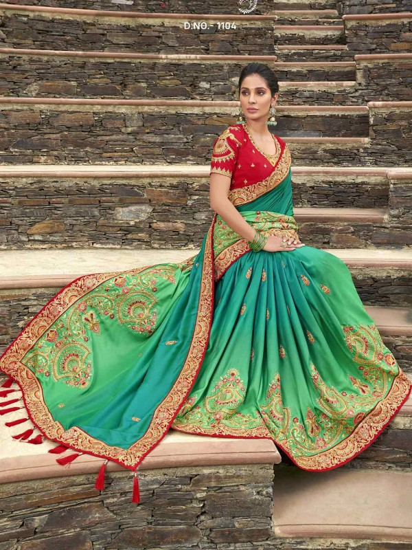 Green Colour Satin,Georgette Designer Saree.