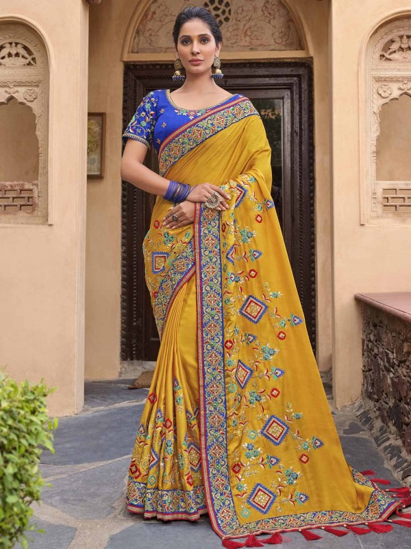 Yellow in Satin,Georgette Fabric Indian Wedding Saree.