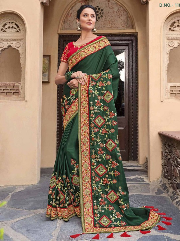 Satin,Georgette Ethnic Wear Saree in Green Colour.
