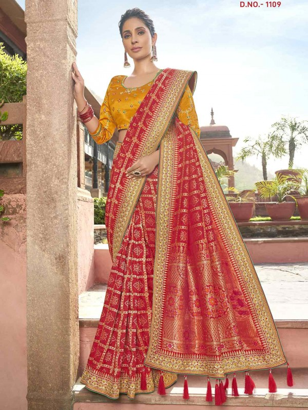 Red Colour Indian Traditional Saree.