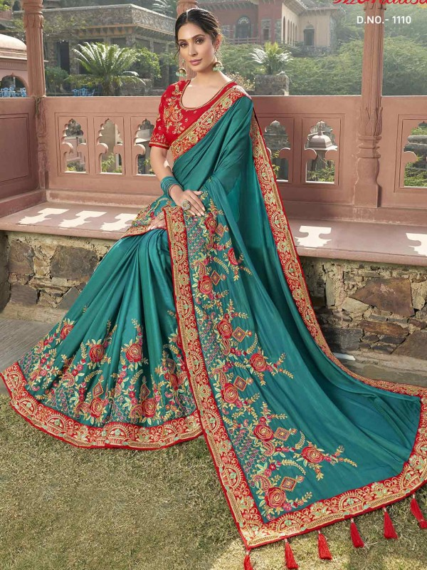 Green in Satin,Georgette Fabric Indian Saree.