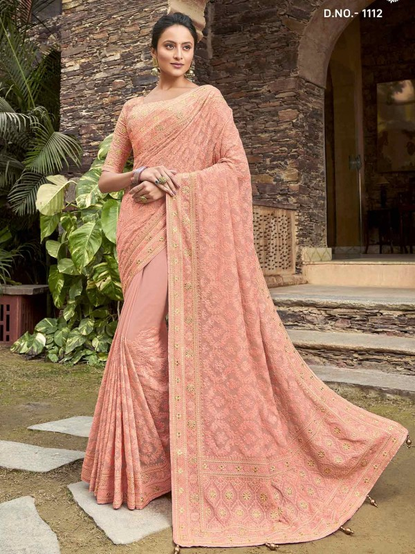 Peach Colour Satin,Georgette Women Saree.