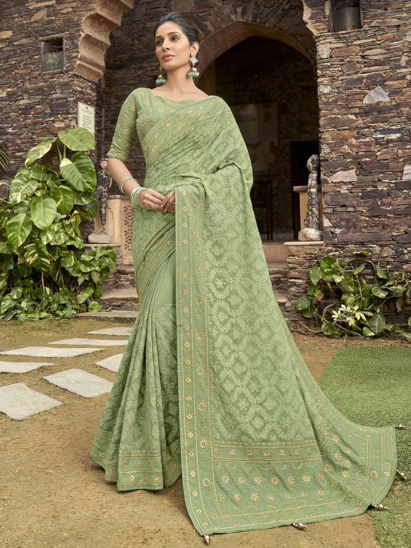 Indian Designer Saree Green Colour in Satin Georgette Fabric.