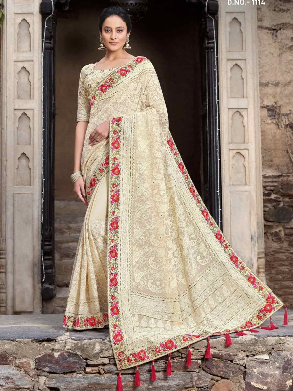 Cream Colour Satin,Georgette Fabric Saree.