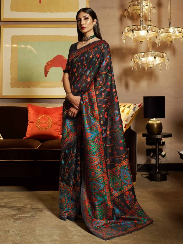 Black Colour Silk Party Wear Saree.