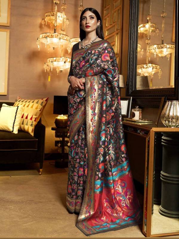 Black Colour Weaving Work Party Wear Saree.