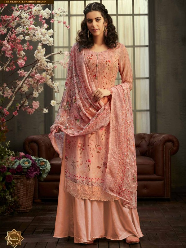 Peach Colour Georgette Designer Salwar Suit.
