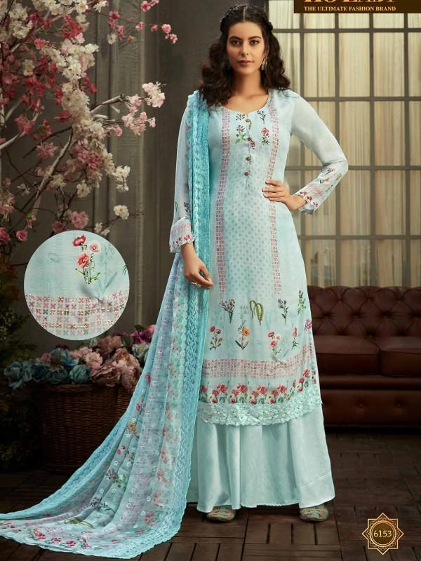 Sky Blue in Georgette Fabric Women's Salwar Suit.