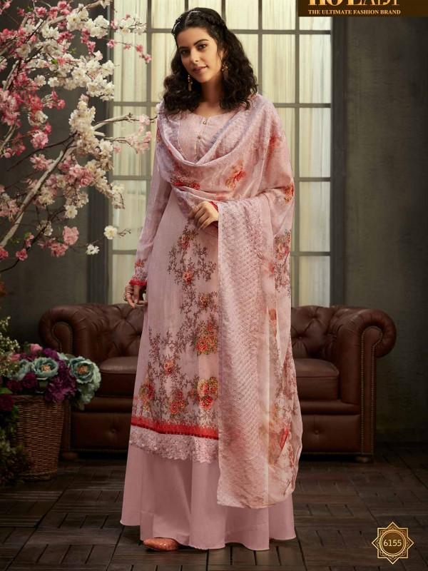 Pink in Georgette Fabric Sharara Salwar Suit.