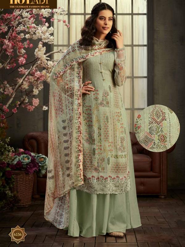 Green Colour Printed Sharara Salwar Suit.