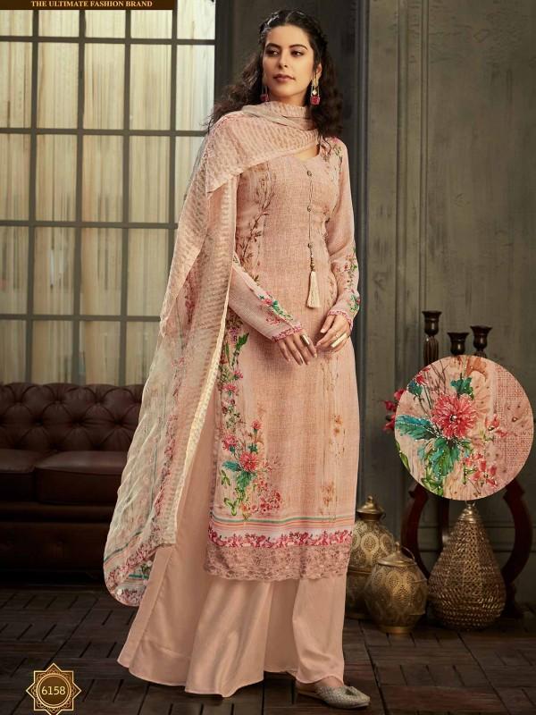 Women Salwar Suit Peach Colour in Georgette Fabric.