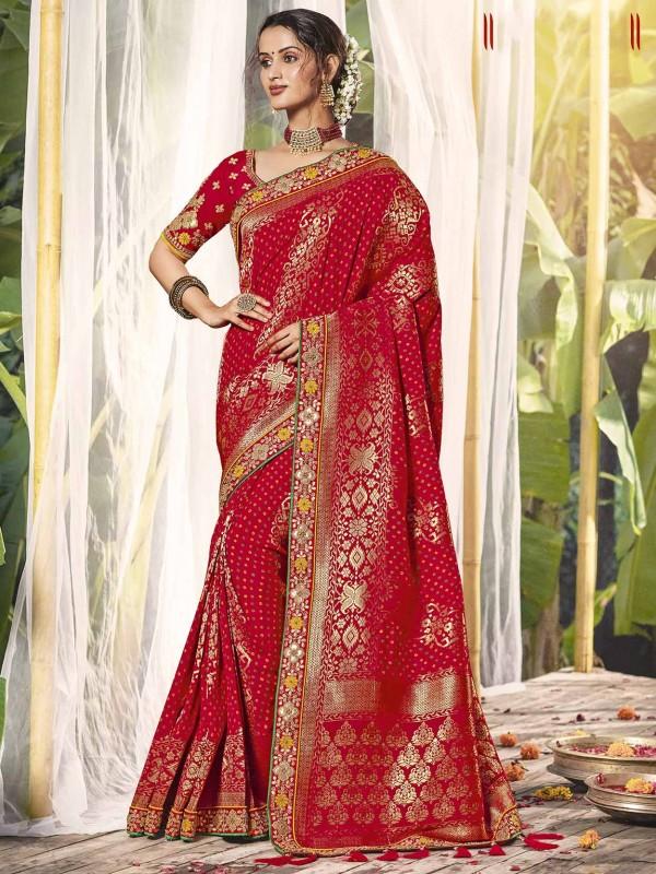 Red Colour Silk Designer Bridal Saree.