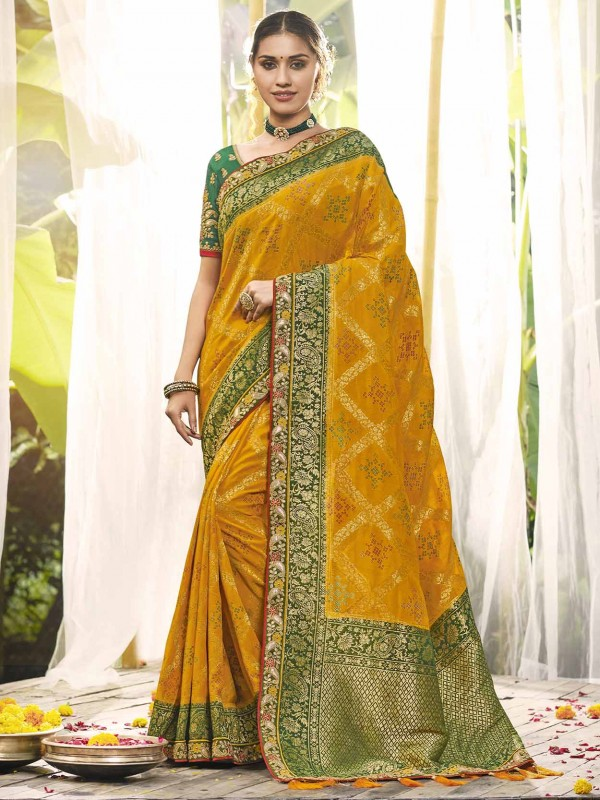 Golden,Yellow Colour Silk Indian Wedding Saree.