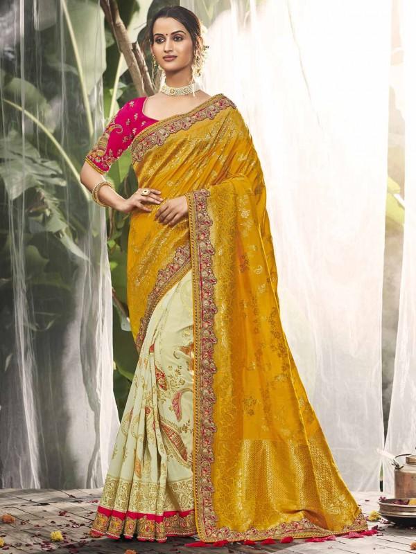 Women Silk Saree in Cream,Golden Colour.