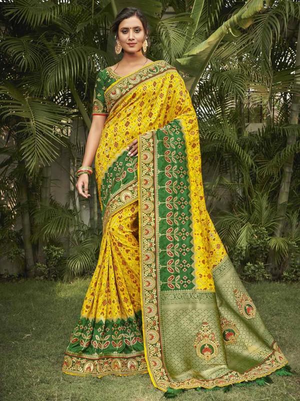 Yellow,Green Colour Silk Saree.