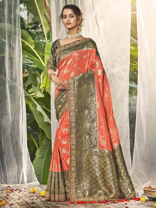 Orange,Grey Colour Silk Designer Saree.