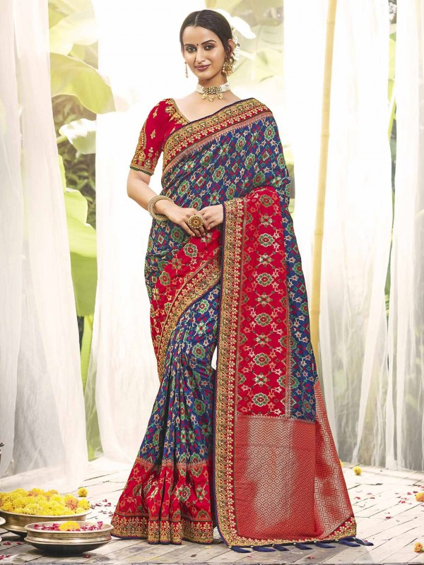 Blue,Red Colour Party Wear Saree.