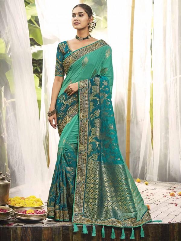 Indian Designer Saree Green Colour in Silk Fabric.