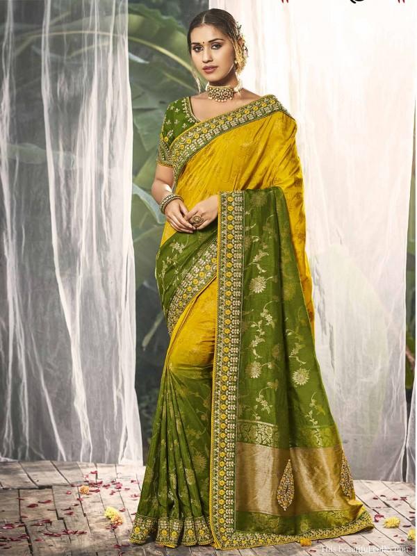 Yellow,Green in Dola Silk Indian Wedding Saree.