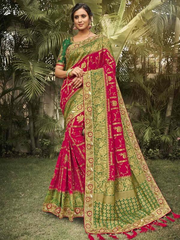 Red Colour Silk Designer Saree.
