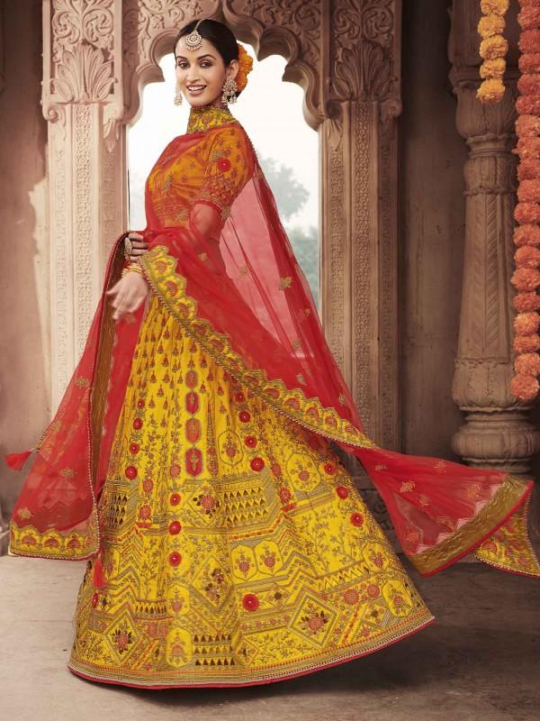 Yellow Colour Zari Work Lehenga Choli.