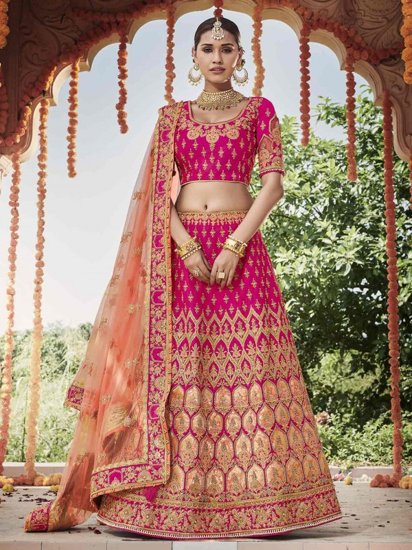 Pink Colour Imported Fabric Designer Lehenga.