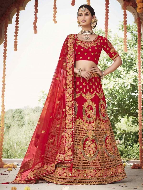 Indian Designer Lehenga Choli Red Colour.