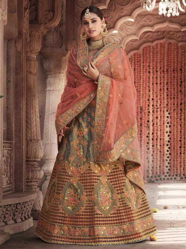 Grey,Pink Colour Women Lehenga Choli.